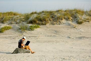 telecommuter on a beach working 3