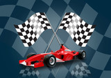 red formula one car and flag poster