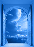window over stormy sky poster
