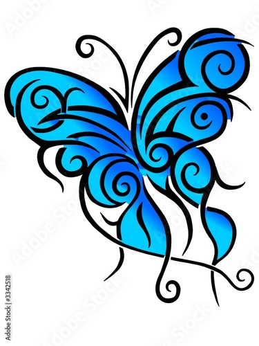 picture of butterfly tattoo. blue utterfly tattoo