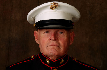close-up of a marine veteran