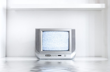 tv in white interior