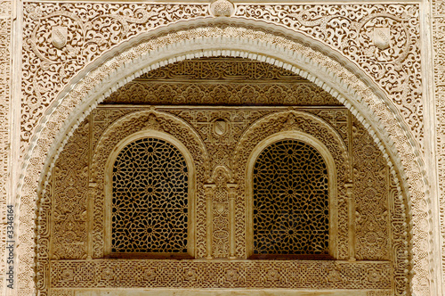 moorish engraving and facade in the alhambra