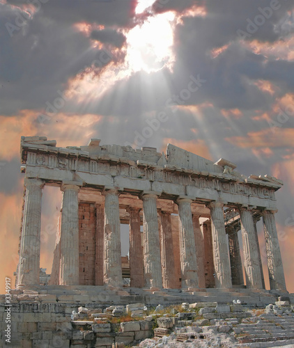 Foto op Canvas Athene sunburst over the acropolis temple