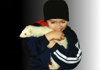 boy and his pet ferret  (f33)