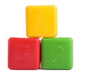 three child brick with text abc poster