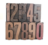 numbers in old letterpress wood type