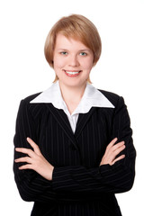 happy businesswoman smiling with hand on bust