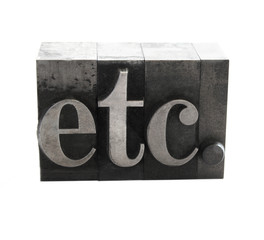 the word 'etc.' in old letterpress metal type