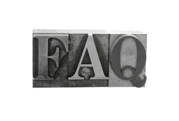 the term 'faq' in old letterpress lead type
