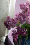 lilac flowers on window sill poster