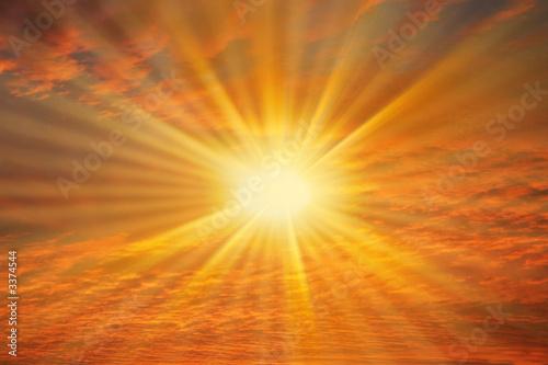Leinwandbild Motiv soleil dans ciel rouge