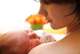 happy mother with newborn baby poster