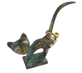 1297 - chat en bronze porte bagues