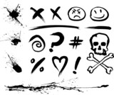 ink blotches and symbols poster