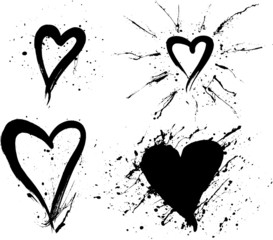 messy ink hearts