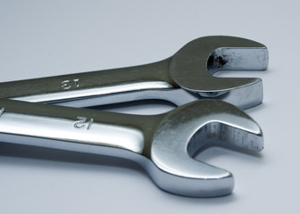 two open ended spanners or wrenches