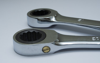 two ratchet ring ended spanners or wrenches