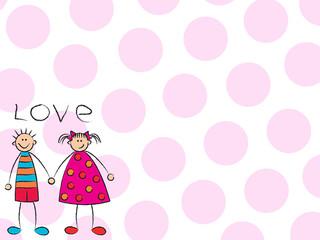 boy + girl = love (pink background)
