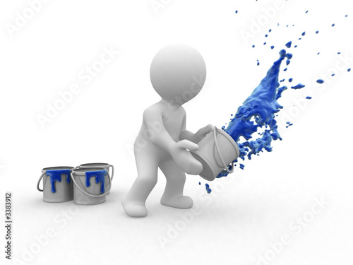 3d blue painter