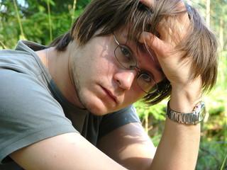 sad looking young man