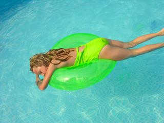 bright green swimmer