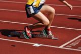runner running on the track in the stadium poster