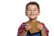 boy with peanut butter sandwich on whole wheat bre - 3389326