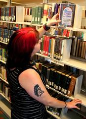 girl at library