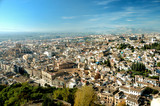 stunning view at old city of granada and mountains poster