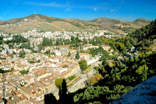view at old city and mountains of granada, perspec