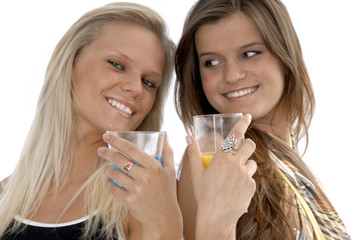 two young women drinking