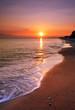 deserted beach at sunset