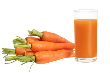 fresh carrot juice isolated