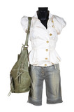 blouse, shorts and bag poster