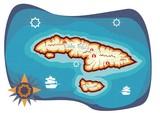 pirats island map illustration poster