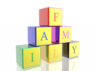 "word ""family"" built from cubes"