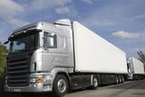 brand new trucks in silver-grey poster