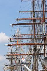 masts of tall sailing ships