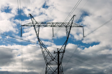 high voltage power line close up
