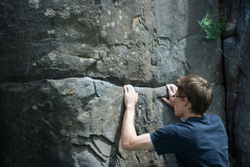 rock climber focused