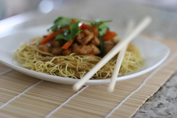 asian crispy noodle dish