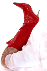 sexy red high heel boots