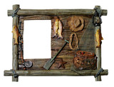 Fototapety decorative wooden picture frame fishing theme