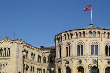 The Norwegian parliament building Stortinget.