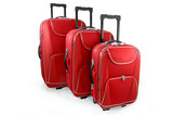 Three red travel suitcases (trolley) - isolated poster
