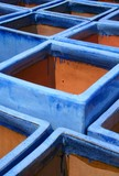 blue glazed terra-cotta pots poster