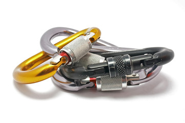 carabiners for climbing, isolated on white backgro