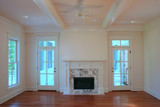 beautiful livingroom with marble fireplace poster