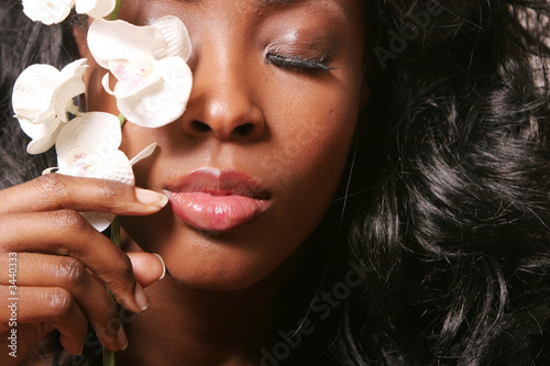 canvas print picture black woman with orchid